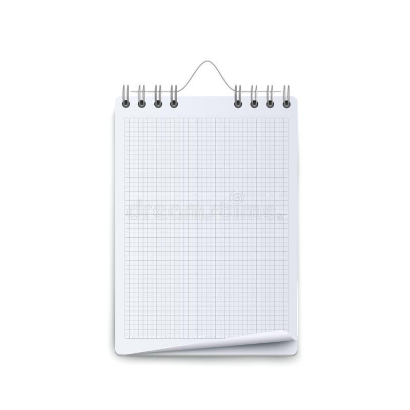 Modello in bianco del calendario con il grafico bianco ed il grippaggio di cavo a spirale royalty illustrazione gratis