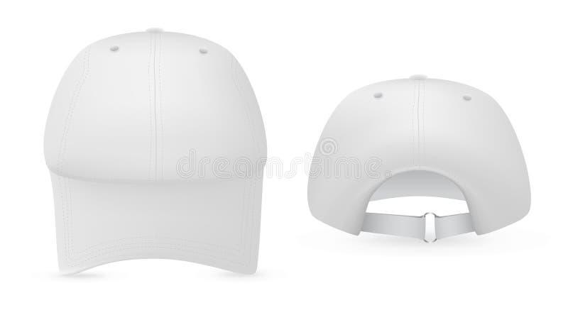 Modello bianco del cappello di baseball. fotografia stock