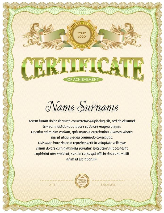 Modello in bianco del certificato royalty illustrazione gratis