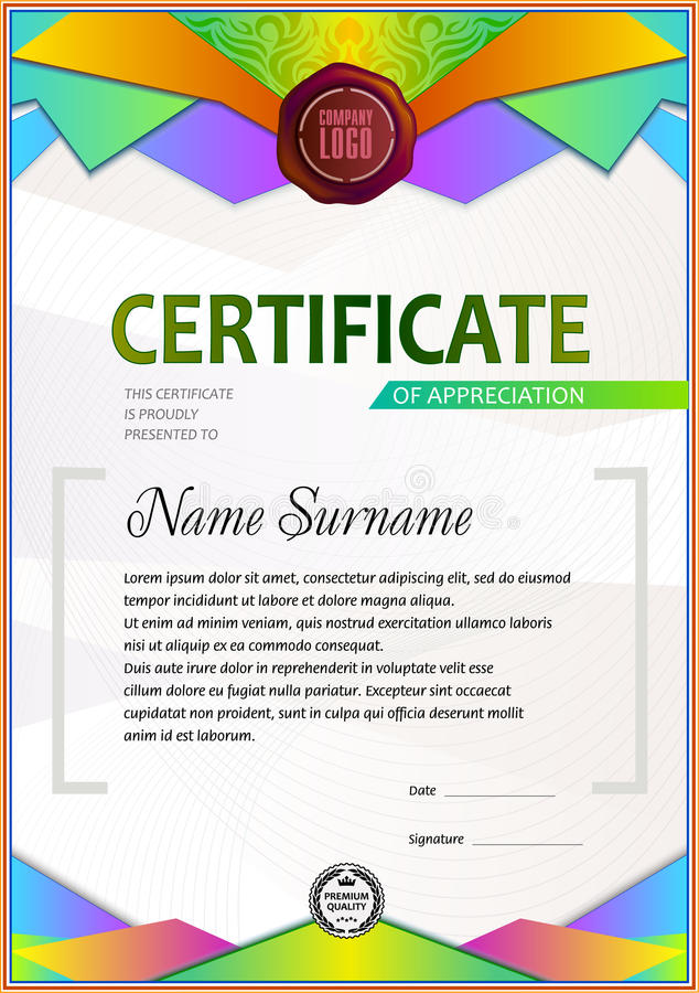 Modello in bianco del certificato illustrazione di stock