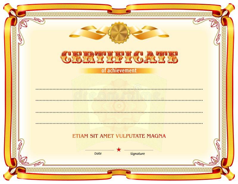 Modello in bianco del certificato illustrazione vettoriale