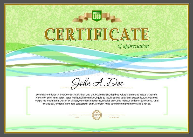Modello in bianco del certificato Gli elementi di progettazione sono basati sull'estratto royalty illustrazione gratis