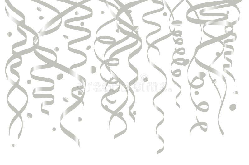 Modello bianco del fondo di celebrazione con i nastri dell'argento e dei coriandoli Illustrazione di vettore illustrazione vettoriale