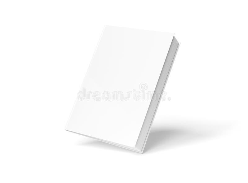Modello in bianco del libro dalla copertina rigida che galleggia sulla rappresentazione bianca 3D illustrazione di stock
