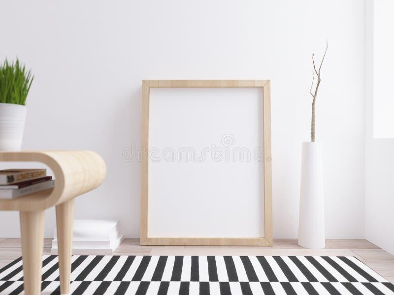 Modello in bianco del manifesto con la struttura dell'acero su inte scandinavo moderno