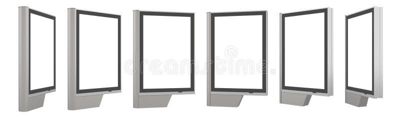 Modello bianco in bianco del pilone, vista laterale, isolata, rappresentazione 3d Derisione vuota del tabellone per le affissioni illustrazione di stock