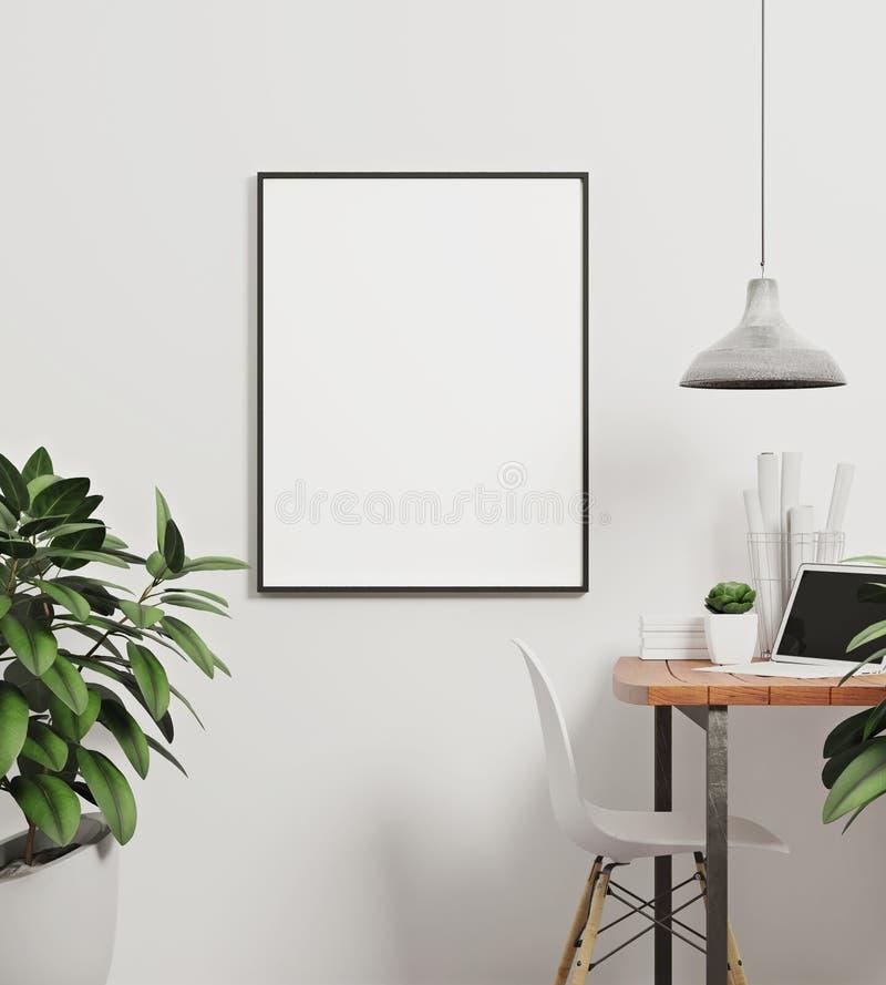 Modello in bianco del ritratto di stile verticale del manifesto illustrazione di stock