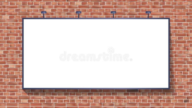 Modello bianco del tabellone per le affissioni sull'illustrazione di vettore del muro di mattoni royalty illustrazione gratis