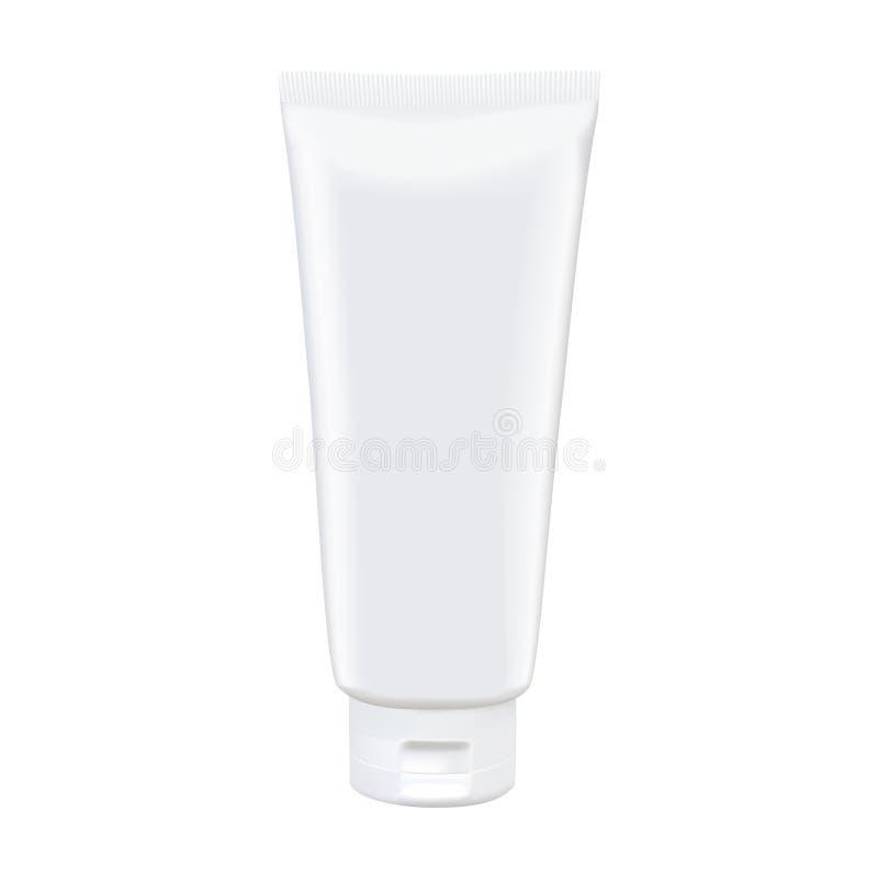 Modello bianco in bianco del tubo isolato su fondo bianco Vettore Photorealistic royalty illustrazione gratis
