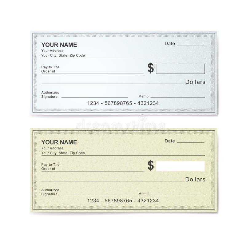 Modello in bianco dell'assegno bancario royalty illustrazione gratis