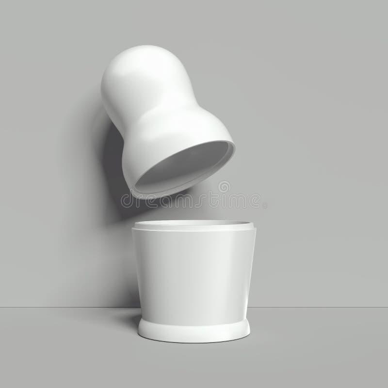 Modello bianco in bianco della bambola di incastramento, matryoshka russo, rappresentazione 3d illustrazione vettoriale