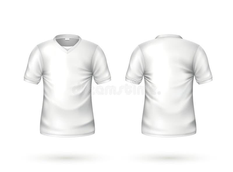 Modello in bianco bianco della maglietta realistica di vettore illustrazione di stock