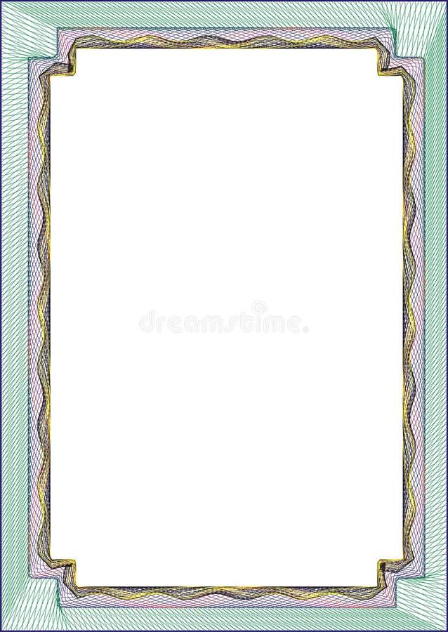 Modello in bianco della pagina per un certificato fotografia stock libera da diritti