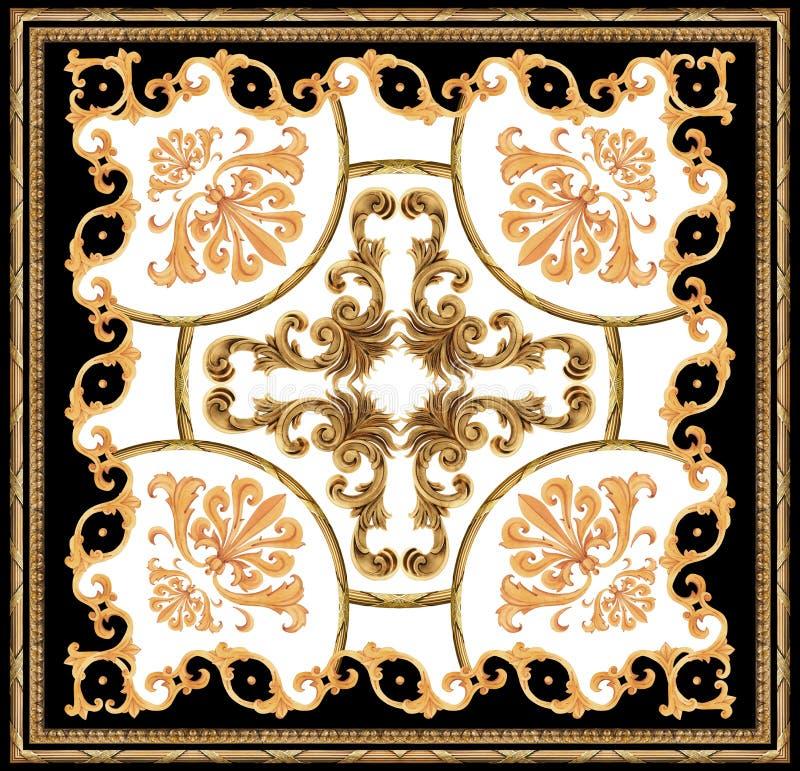 modello bianco della sciarpa del fondo del nero barrocco dorato dell'ornamento illustrazione vettoriale