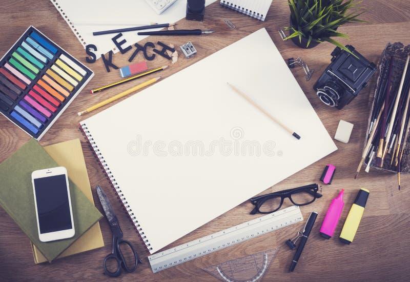 Modello in bianco dello sketchbook fotografia stock libera da diritti