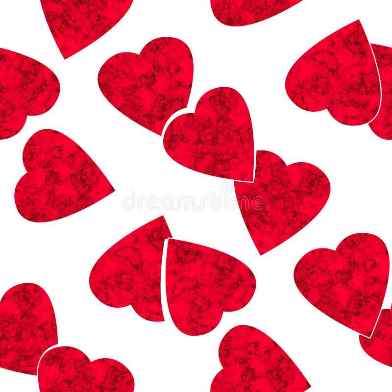 Modello bianco di biglietti di S. Valentino dei cuori rossi senza cuciture di giorno illustrazione di stock