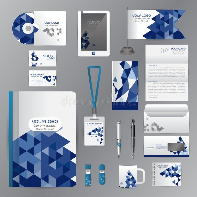Modello bianco di identità con gli elementi blu di origami Compa di vettore illustrazione vettoriale