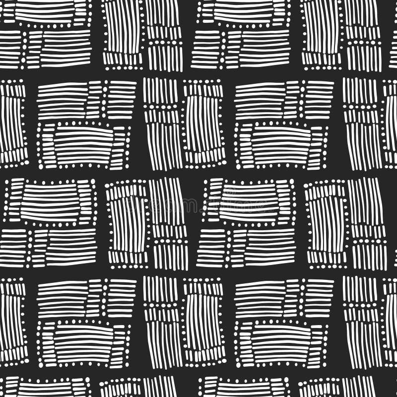 Modello in bianco e nero astratto con le linee di scarabocchio illustrazione vettoriale