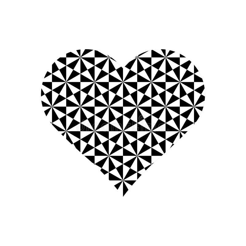 Modello in bianco e nero dei cubi sul simbolo del cuore illustrazione di stock
