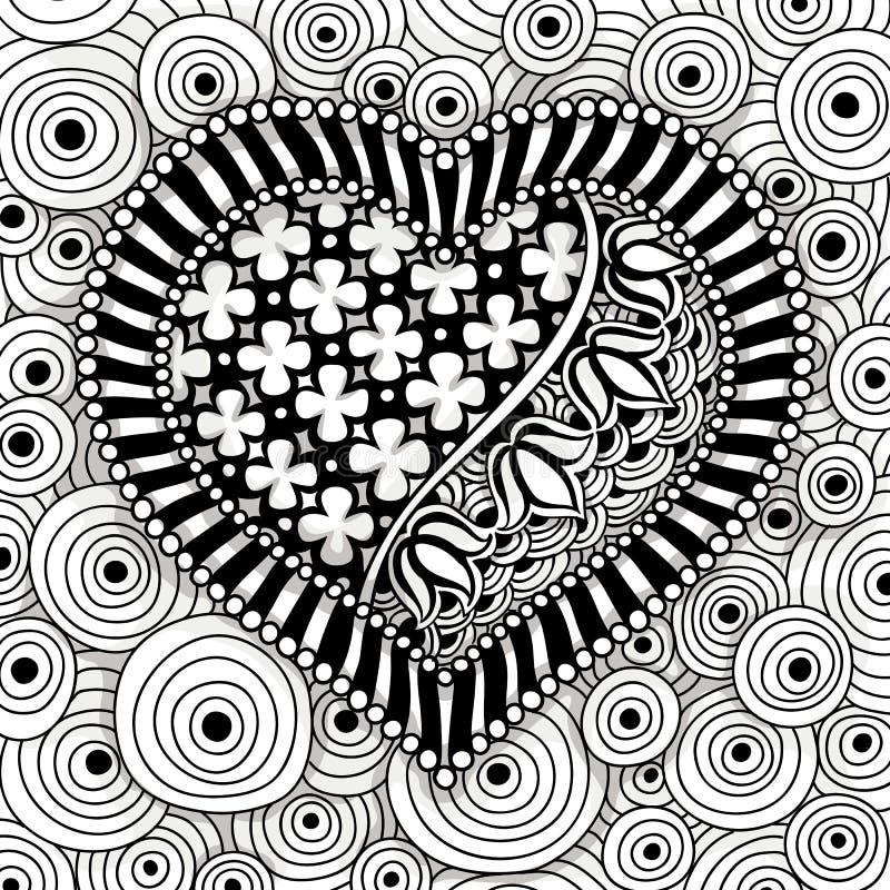 Modello in bianco e nero del cuore di vettore illustrazione vettoriale