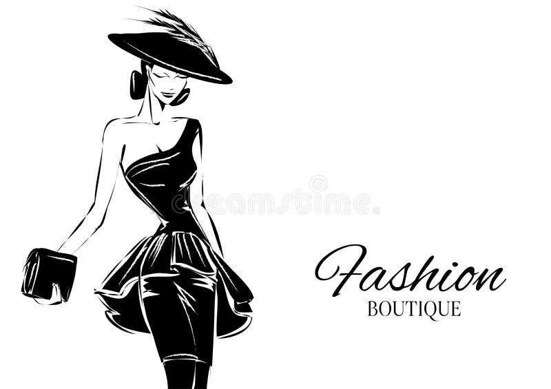 Modello in bianco e nero della donna di modo con il fondo di logo del boutique Disegnato a mano royalty illustrazione gratis