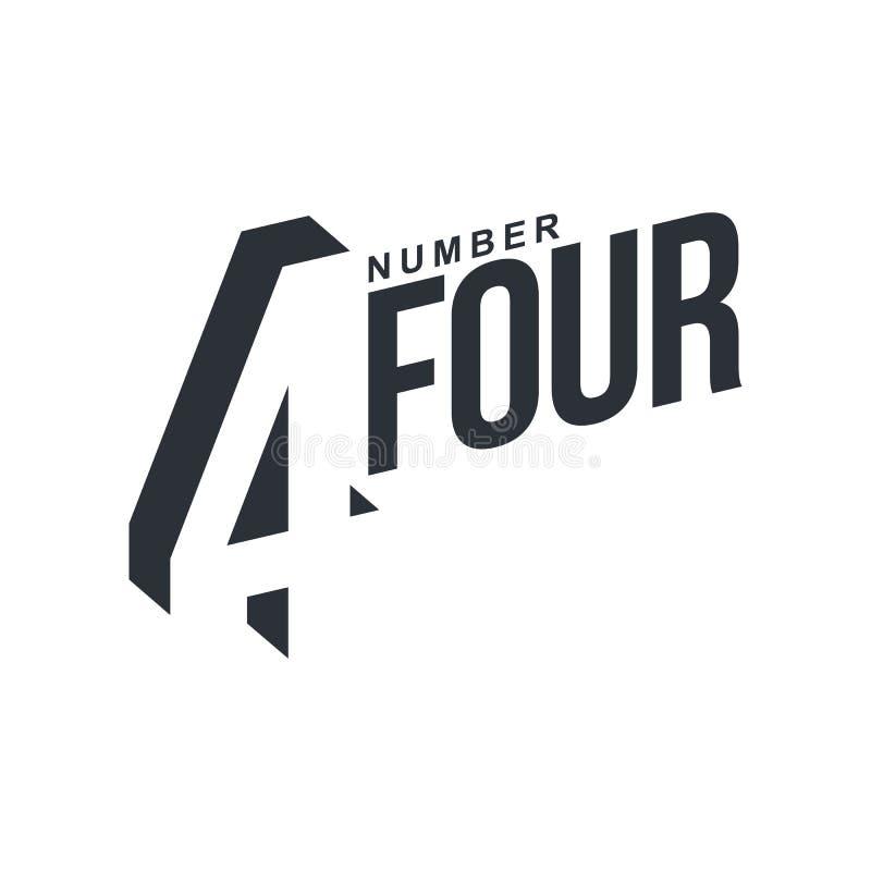 Modello in bianco e nero di logo della diagonale di numero quattro royalty illustrazione gratis