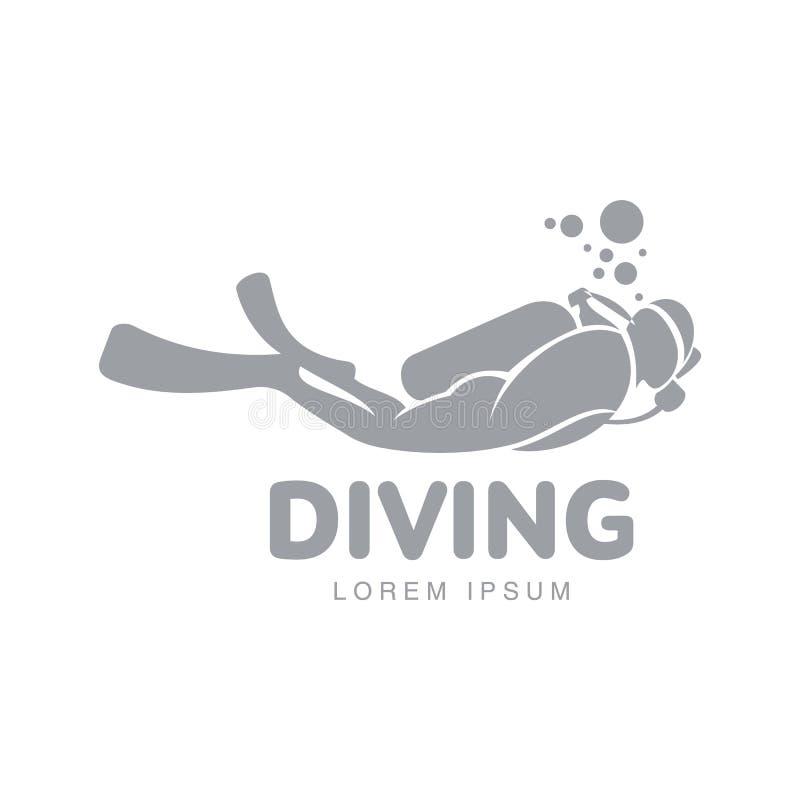 Modello in bianco e nero di logo di immersione subacquea con l'operatore subacqueo che nuota underwater illustrazione vettoriale