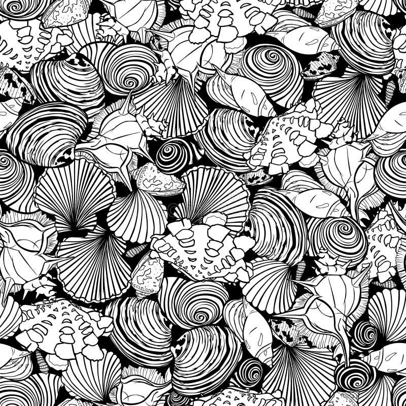 Modello in bianco e nero di ripetizione di vettore con varietà di conchiglie overlaping Perfezioni per tessuto, Scrapbooking, car royalty illustrazione gratis