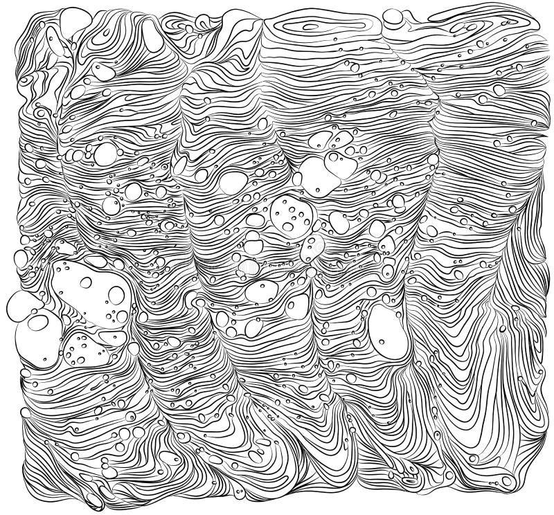 Modello in bianco e nero di vettore Fondo monocromatico con le onde astratte degli ornamenti Illustrazione di Wave illustrazione vettoriale