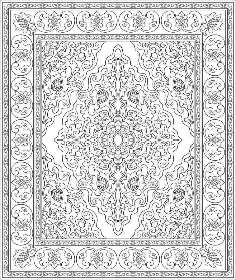 Modello in bianco e nero per tappeto royalty illustrazione gratis