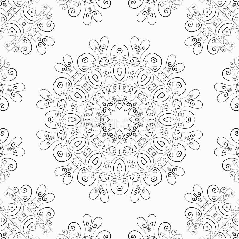 Modello in bianco e nero rotondo dei cuori per la carta, l'insegna o l'immagine antistress illustrazione di stock