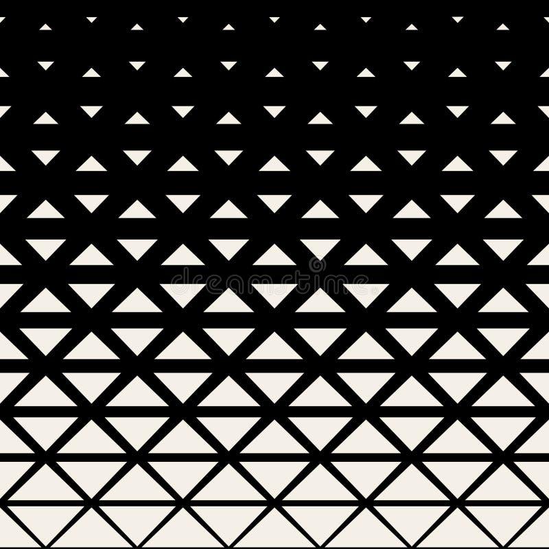 Modello in bianco e nero senza cuciture del semitono di griglia del triangolo di vettore royalty illustrazione gratis