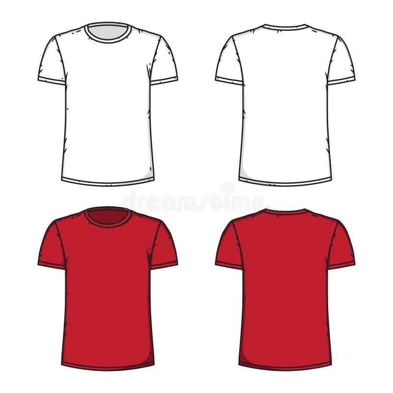 Modello bianco e rosso in bianco della maglietta Parte anteriore e parte posteriore illustrazione di stock