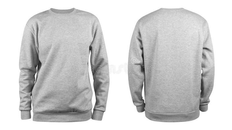Modello in bianco grigio della maglietta felpata degli uomini, da due lati, forma naturale sul manichino invisibile, per il vostr immagine stock