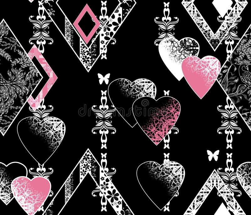 Modello bianco nero di biglietti di S. Valentino dei cuori senza cuciture di giorno royalty illustrazione gratis