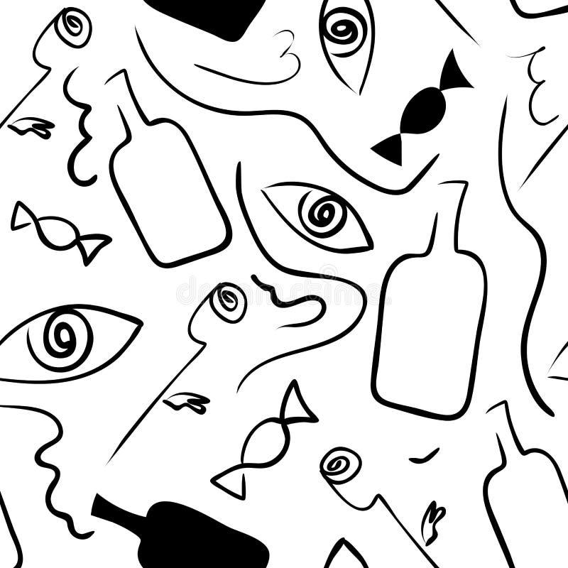 Modello bianco nero senza cuciture lineare nello stile di surrealismo royalty illustrazione gratis