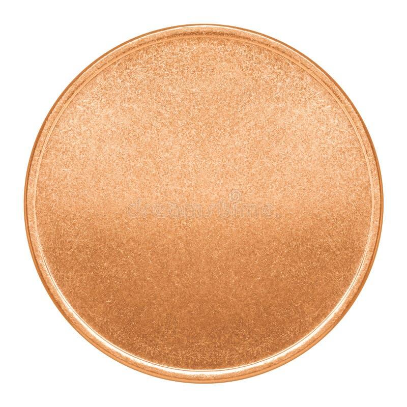 Modello in bianco per la moneta di rame o la medaglia fotografia stock libera da diritti