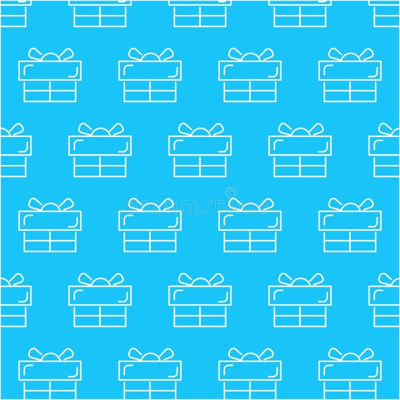 Modello bianco senza cuciture dell'estratto del contenitore di regalo con fondo blu, vettore, spazio della copia per testo, tema  illustrazione di stock