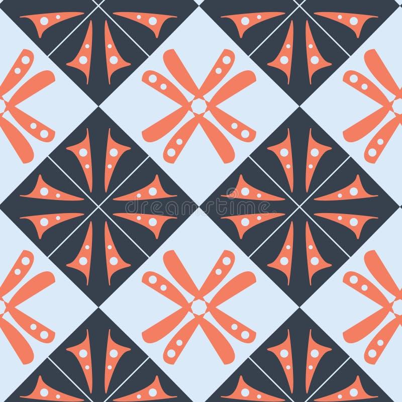 Modello blu arancio porpora dell'estratto della carta da parati con i quadrati ed il motivo floreale royalty illustrazione gratis