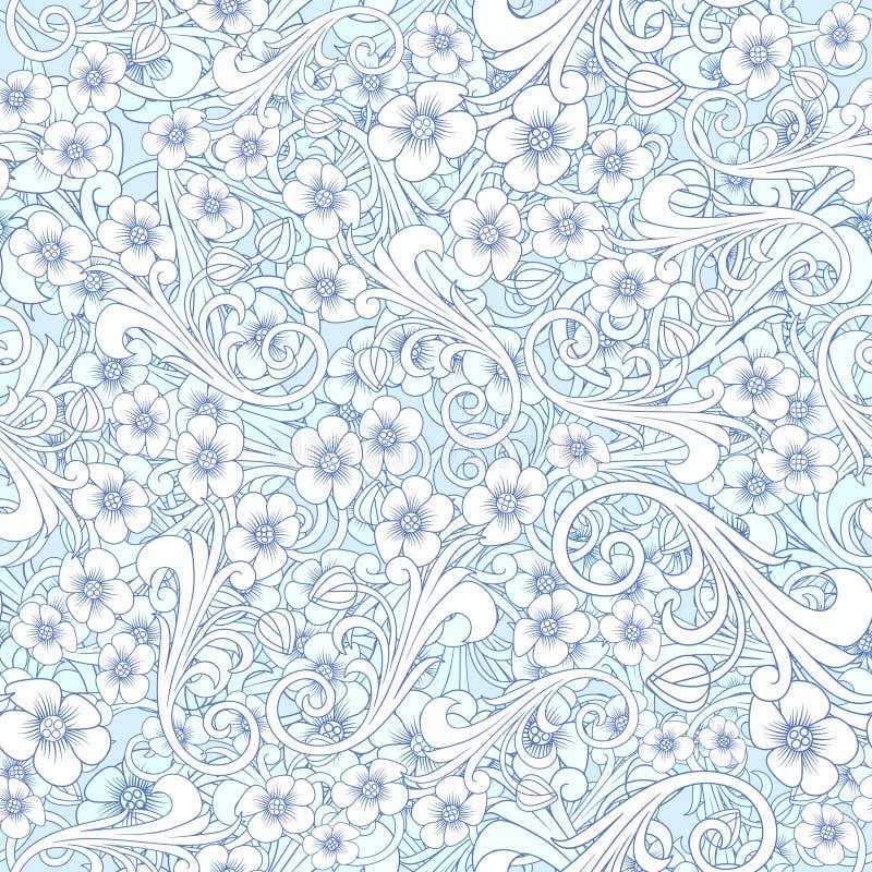Modello blu astratto senza cuciture oriente o progettazione della Russia ornamento di lusso, carta da parati di spostamento flore royalty illustrazione gratis