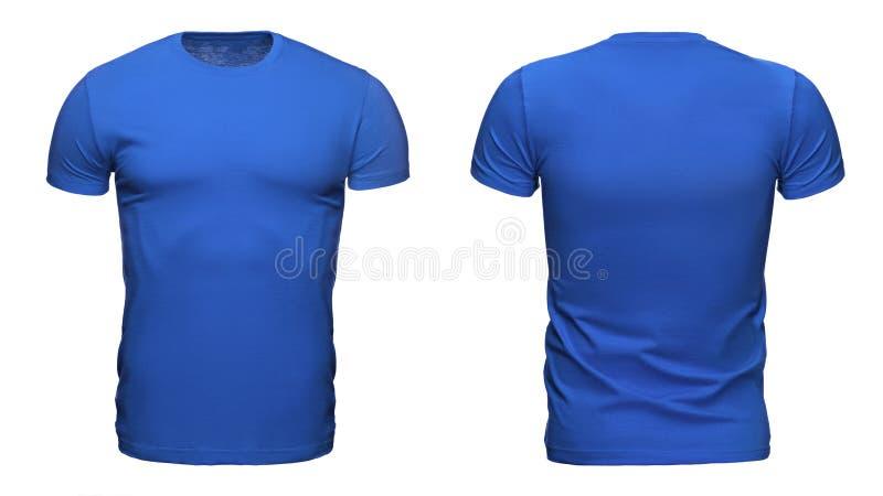 Modello blu in bianco della maglietta utilizzato per la vostra progettazione isolata su fondo bianco con il percorso di ritaglio fotografia stock libera da diritti