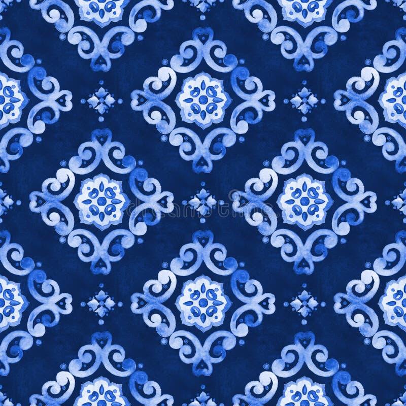 Modello blu del pizzo dell'acquerello fotografia stock