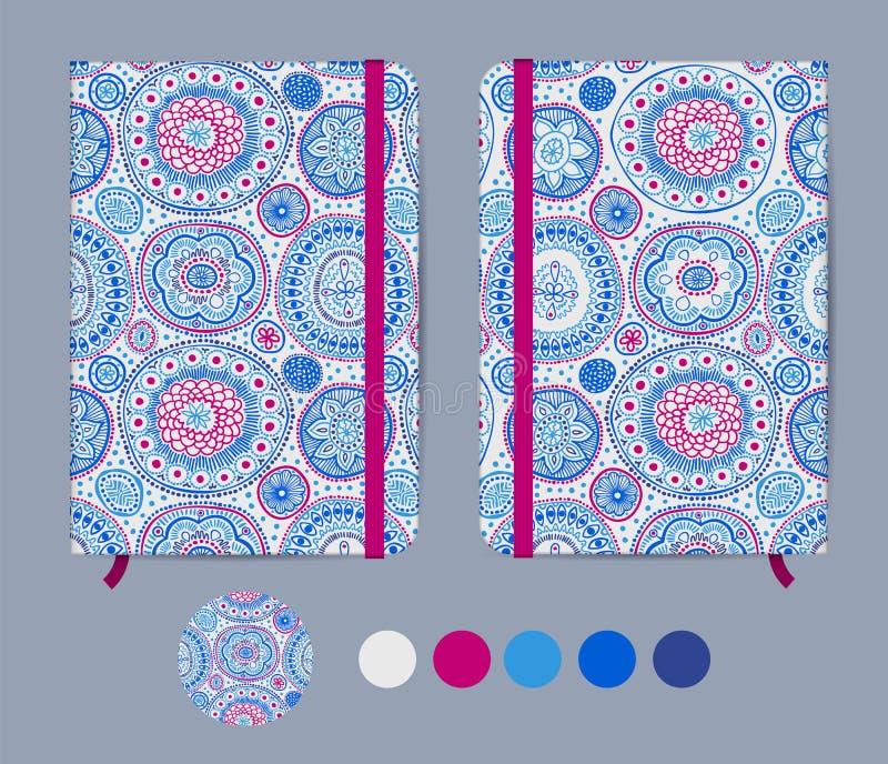 Modello blu del quaderno con la banda elastica e segnalibro con il modello astratto Arte geometrica aborigena australiana royalty illustrazione gratis