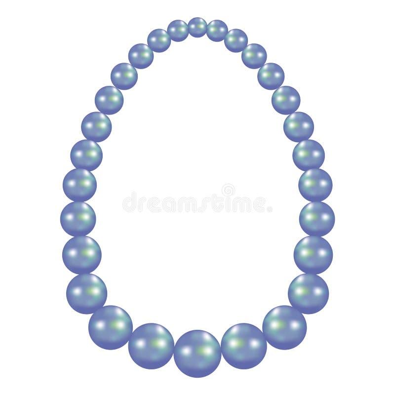 Modello blu della collana della perla, stile realistico illustrazione di stock