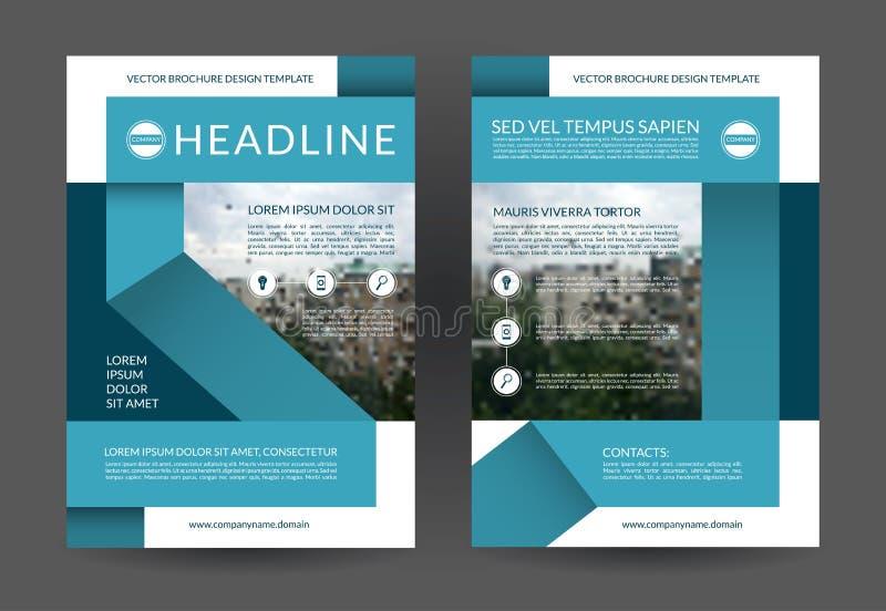 Modello blu della disposizione dell'aletta di filatoio dell'opuscolo del rapporto annuale Dimensione A4 Pagina anteriore e poster royalty illustrazione gratis