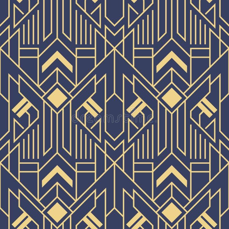 Modello blu di colore delle mattonelle geometriche moderne di deco di astrattismo di vettore illustrazione vettoriale