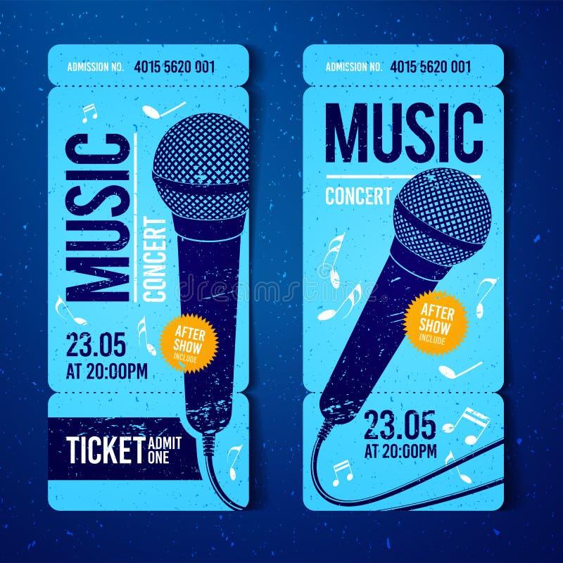 Modello blu di progettazione del biglietto di concerto di musica dell'illustrazione di vettore con il microfono ed effetti fresch illustrazione di stock