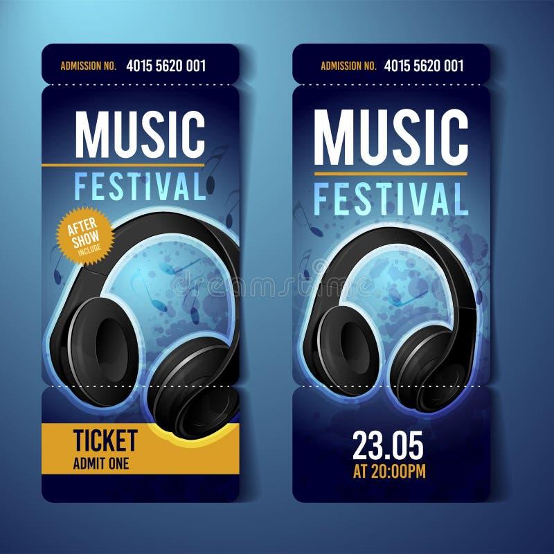 Modello blu di progettazione del biglietto di festival di musica di vettore con le cuffie e gli effetti di lerciume illustrazione di stock