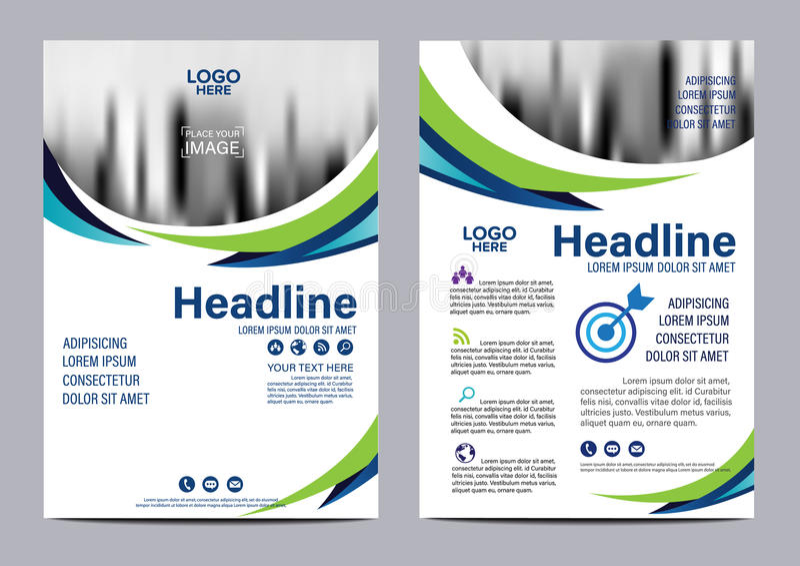 Modello blu di progettazione dell'aletta di filatoio del rapporto annuale dell'opuscolo illustrazione vettoriale