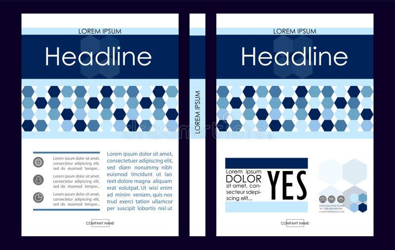Modello blu di progettazione della copertina di libro di affari A4 Buon per la cartella, illustrazione di stock
